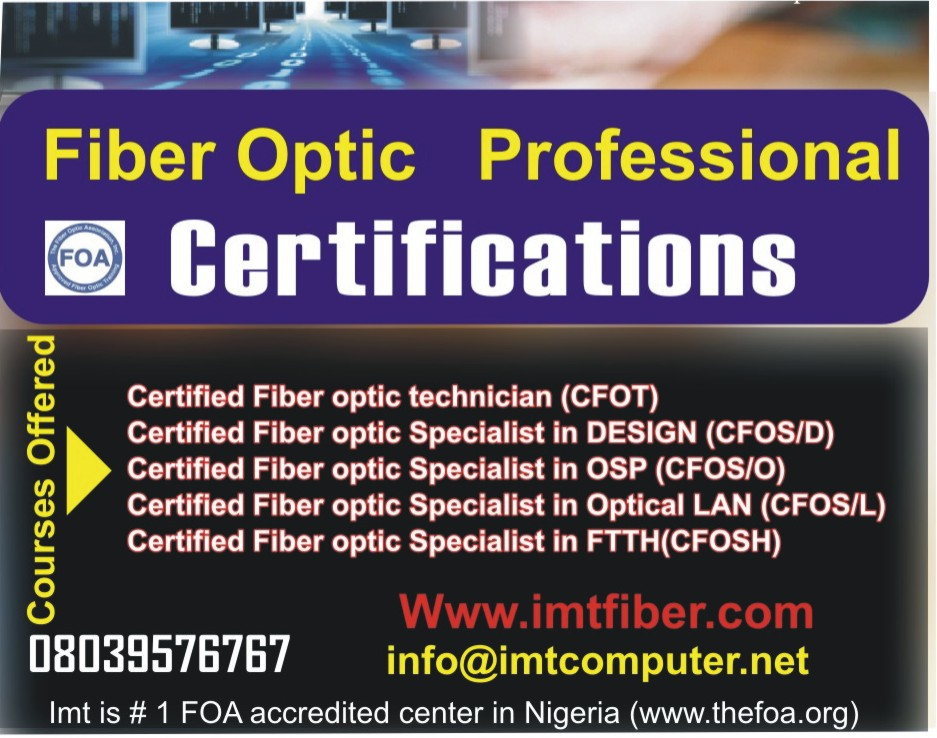 Fiber Optic Certification Training In Ikeja Lagos Nigeria Free